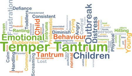 stubbornness: Background concept wordcloud illustration of temper tantrum