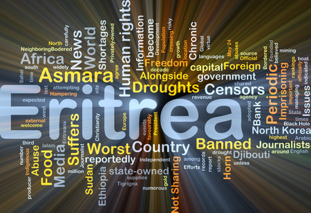 foreign country: Background concept wordcloud illustration of Eritrea glowing light
