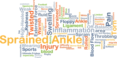 Background concept wordcloud illustration of sprained ankle Banco de Imagens
