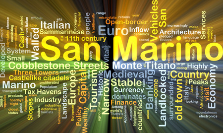 walled: Background concept wordcloud illustration of San Marino glowing light Stock Photo