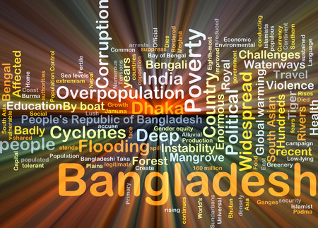 affected: Background concept wordcloud illustration of Bangladesh glowing light