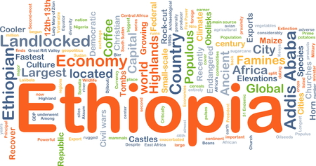 landlocked country: Background concept wordcloud illustration of Ethiopia Stock Photo