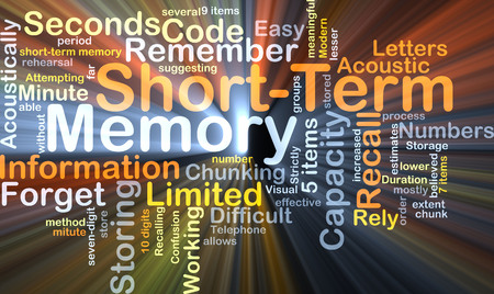 acoustically: Background concept wordcloud illustration of short-term memory glowing light