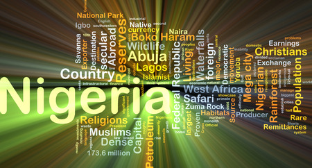 remittances: Background concept wordcloud illustration of Nigeria glowing light Stock Photo