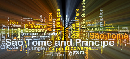 tome: Background concept wordcloud illustration of Sao Tome and Principe glowing light