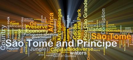 principe: Ilustración de wordcloud concepto de Santo Tomé y Príncipe luz que brilla intensamente