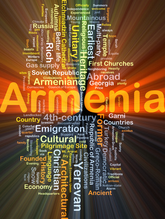 pilgrimage: Background concept wordcloud illustration of Armenia glowing light