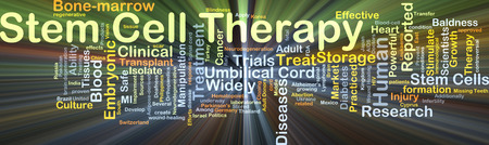 Background concept wordcloud illustration of stem cell therapy glowing light Stock Photo