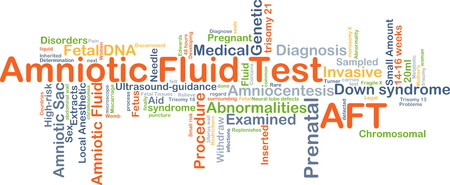 invasive: Background concept wordcloud illustration of amniotic fluid test AFT