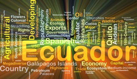 republic of ecuador: Background concept wordcloud illustration of Ecuador glowing light