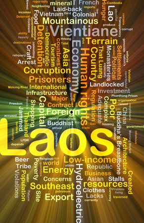 lacks: Background concept wordcloud illustration of Laos glowing light