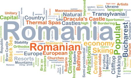 bran: Background concept wordcloud illustration of Romania Stock Photo