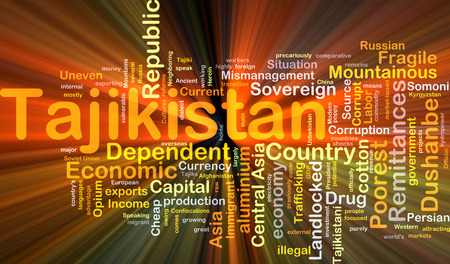 landlocked country: Background concept wordcloud illustration of Tajikistan glowing light