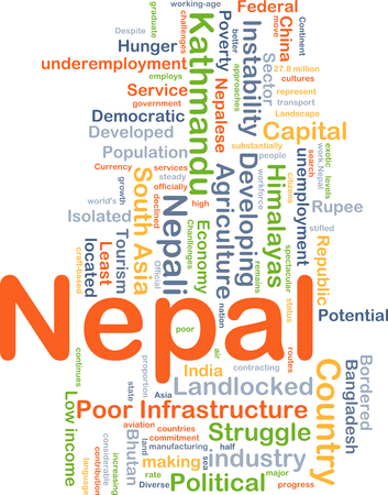 landlocked country: Background concept wordcloud illustration of Nepal