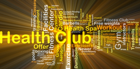 health club: Background concept wordcloud illustration of health club glowing light Stock Photo