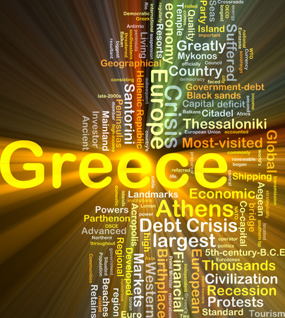 developed: Background concept wordcloud illustration of Greece glowing light