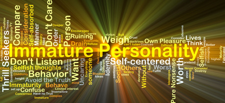 immature: Background concept wordcloud illustration of immature personality glowing light