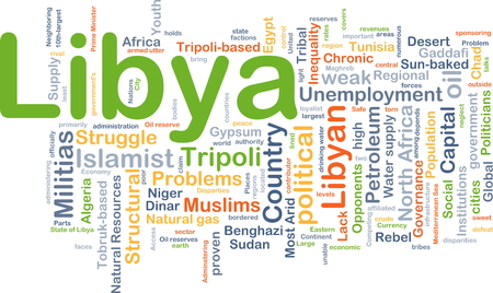 inequality: Background concept wordcloud illustration of Libya