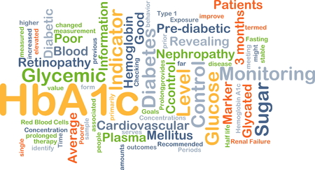 nephropathy: Background concept wordcloud illustration of HbA1c Stock Photo