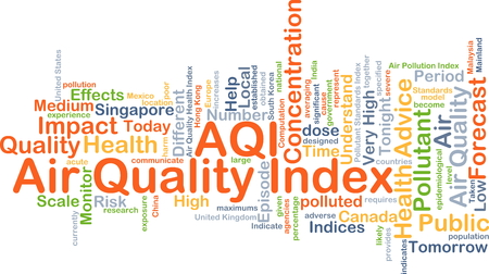 pollutant: Background concept wordcloud illustration of air quality index AQI