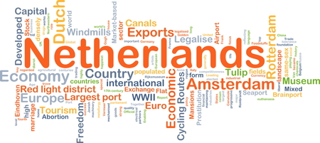 red light district: Background concept wordcloud illustration of Netherlands