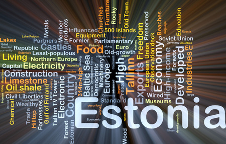baltic sea: Background concept wordcloud illustration of Estonia glowing light