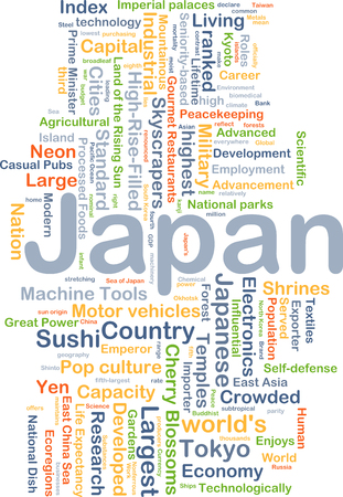 technologically: Background concept wordcloud illustration of Japan
