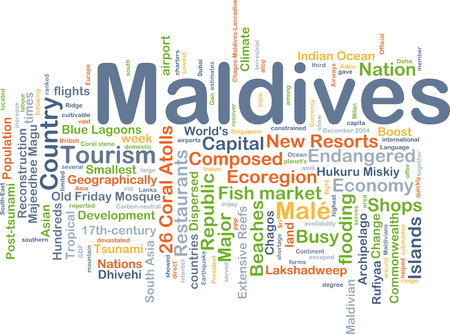 geographically: Background concept wordcloud illustration of Maldives