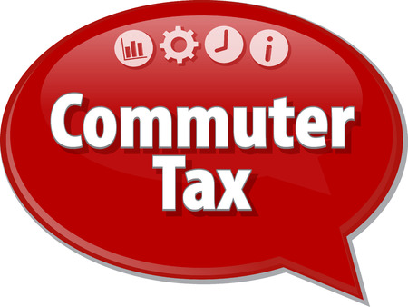 commuter: Speech bubble dialog illustration of business term saying Commuter Tax Stock Photo