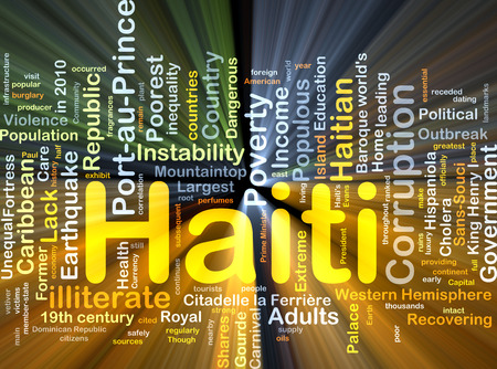 recovering: Background concept wordcloud illustration of Haiti glowing light Stock Photo