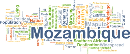 instability: Background concept wordcloud illustration of Mozambique Stock Photo