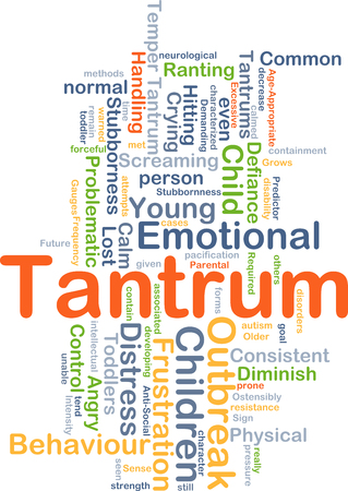 stubbornness: Background concept wordcloud illustration of tantrum