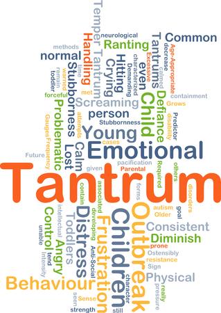 tantrums: Sfondo concetto illustrazione wordcloud di collera