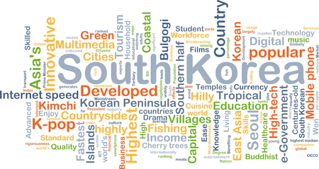 high speed internet: Background concept wordcloud illustration of South Korea Stock Photo