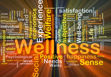 Background concept wordcloud illustration of wellness glowing light