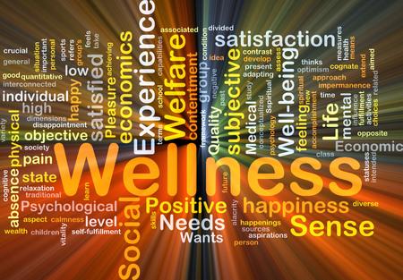 Wordcloud Hintergrund Konzept der Wellness-leuchtende Licht
