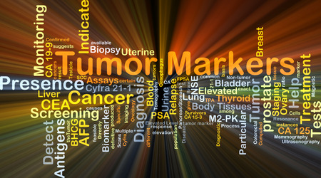 thyroid cancer: Background concept wordcloud illustration of tumor markers glowing light
