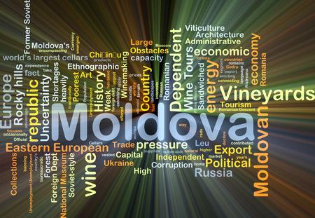 moldovan: Background concept wordcloud illustration of Moldova glowing light Stock Photo