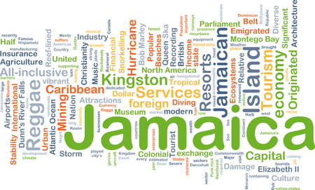 kingston: Background concept wordcloud illustration of Jamaica Stock Photo