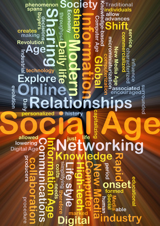 computerization: Background concept wordcloud illustration of social age glowing light
