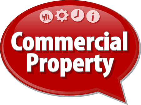 property management: Speech bubble dialog illustration of business term saying Commercial Property