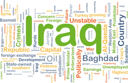 unstable: Background concept wordcloud illustration of Iraq Stock Photo