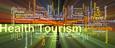 high cost of healthcare: Background concept wordcloud illustration of health tourism glowing light