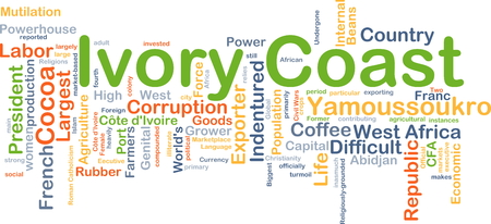 powerhouse: Background concept wordcloud illustration of Ivory Coast Stock Photo