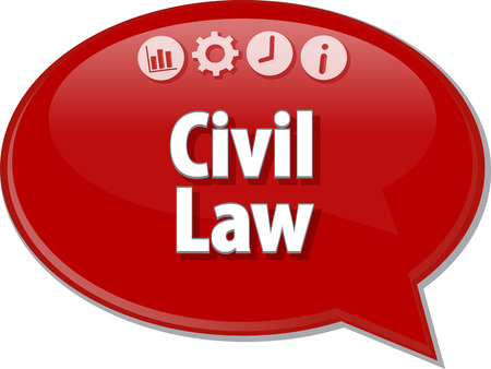 saying: Speech bubble dialog illustration of business term saying Civil Law