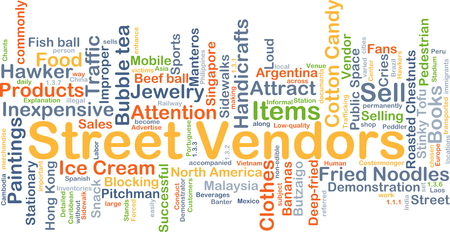 vendors: Background concept wordcloud illustration of street vendors