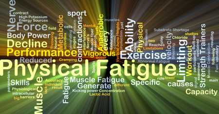 specific: Background concept wordcloud illustration of physical fatigue glowing light Stock Photo