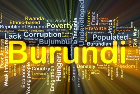 populated: Background concept wordcloud illustration of Burundi glowing light Stock Photo