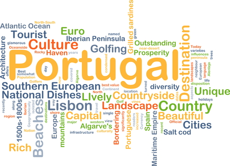 bordering: Background concept wordcloud illustration of Portugal Stock Photo