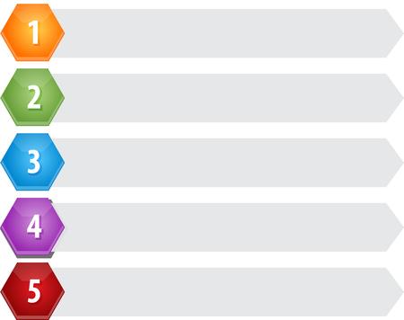 ビジネス戦略概念インフォ グラフィック図六角形のアイテム 5 つを空白します。 写真素材